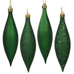 "8ct Emerald Green Shatterproof 4-Finish Finial Drop Christmas Ornaments 5.5"""