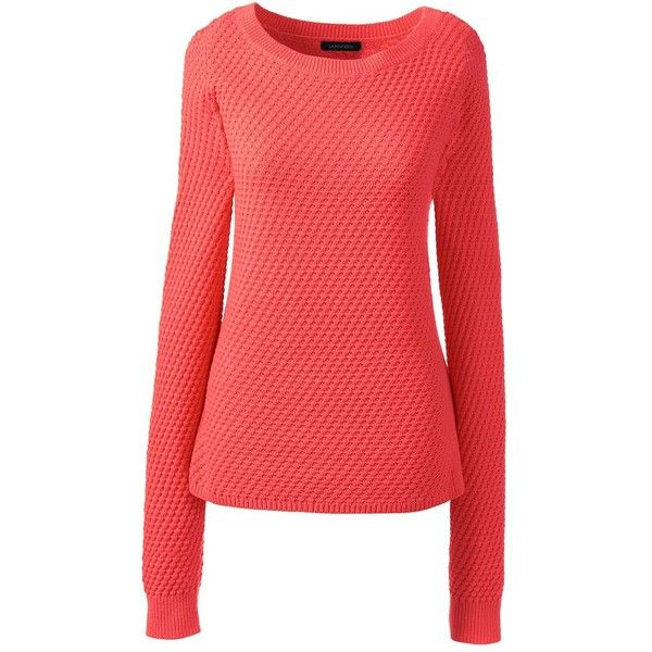6f8c2a61def Lands  End Women s Petite Lofty Textured Mix Stitch Boatneck Sweater ( 20)  ❤ liked on Polyvore featuring tops