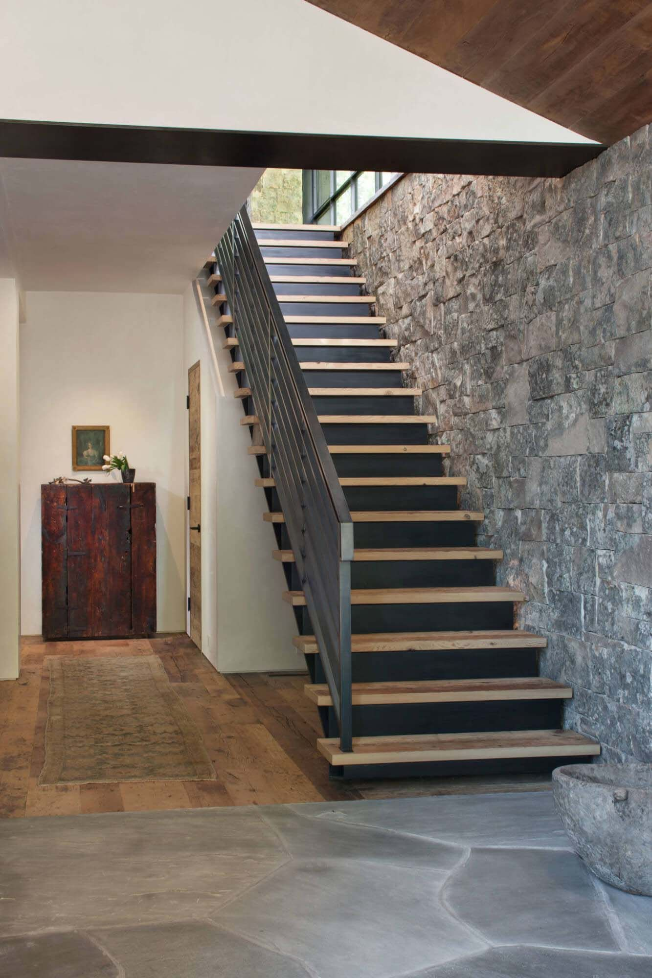 Stair stairway staircase colorado onekindesign colorado homes modern mountain home