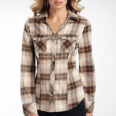 8105cc7cdbe989 a.n.a® Womens Flannel Shirt, Plaid Button Down - jcpenney | Casual ...