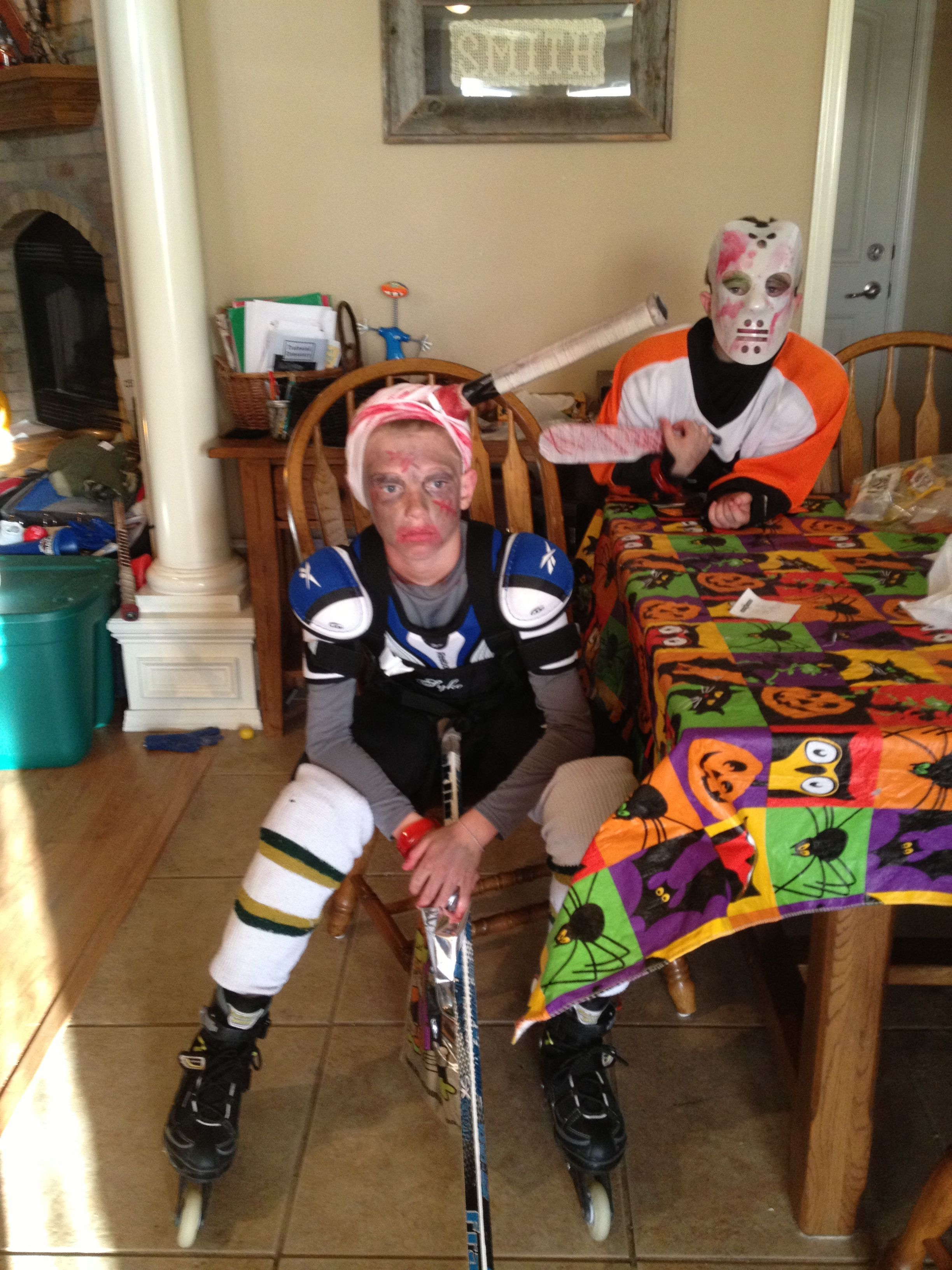 The Boy S Halloween Costumes So Super Easy They Already Play Hockey And Wanted To Be Z Zombie Halloween Costumes Boy Halloween Costumes Hockey Player Costume