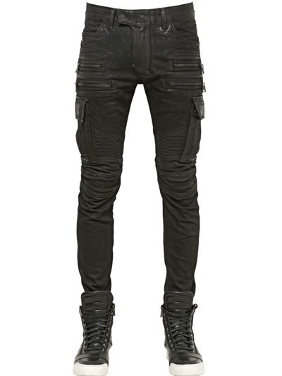 9a37d13237c4f BALMAIN - 16.5CM COATED COTTON CARGO BIKER JEANS - LUISAVIAROMA - LUXURY  SHOPPING WORLDWIDE SHIPPING - FLORENCE