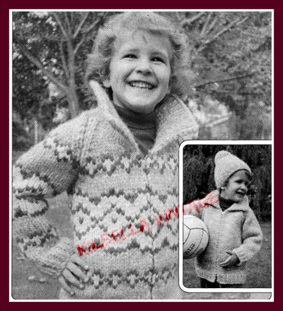 Cowichan - White Buffalo Wool Child's Diamond Design Zip Sweater Knitting Pattern on Etsy