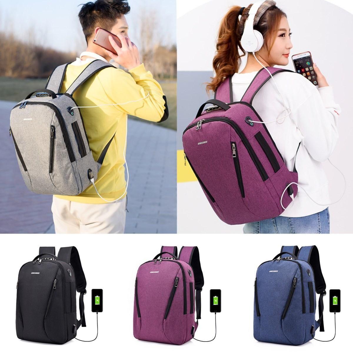 c543043d6723 17L Anti-theft Men Women Laptop Notebook Backpack USB Charging Port ...