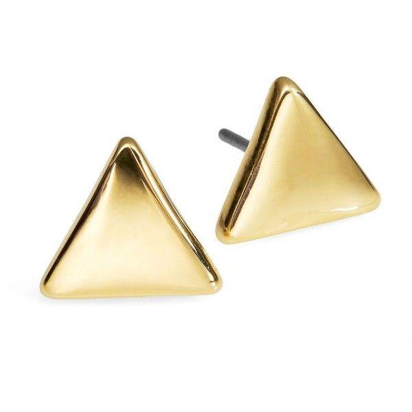 Lauren Ralph Lauren Triangle Metal Stud Earrings ($24) ❤ liked on Polyvore
