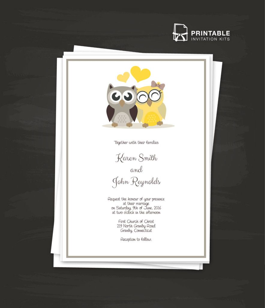 Owls 4 PDF Wedding Invitation Template - style the texts