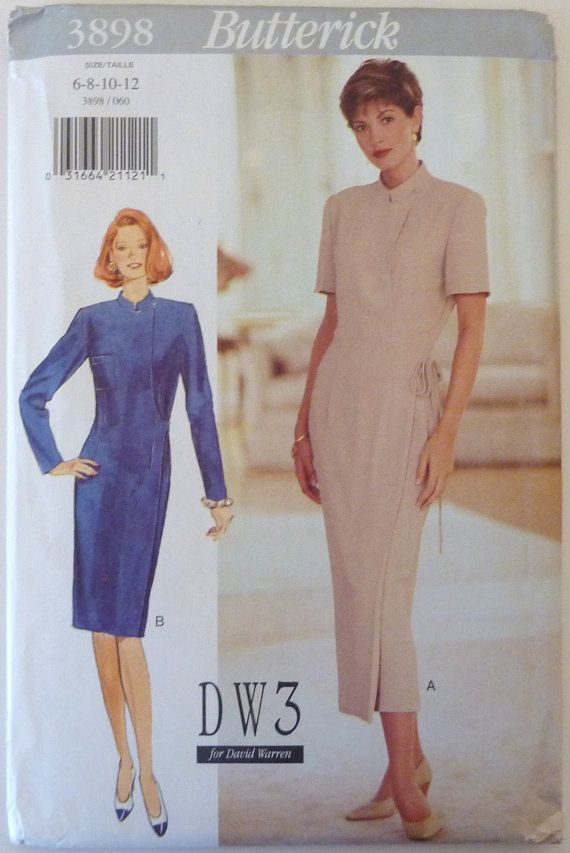 Sewing Pattern Butterick 3898 - Misses Wrap Dress (1995) Size 6-8-10-12 UNCUT