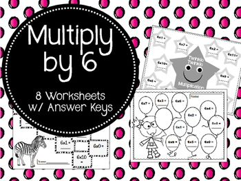 These 8 worksheets are a great way to help your students review their 6 Times Tables.  Answer Keys are included!!