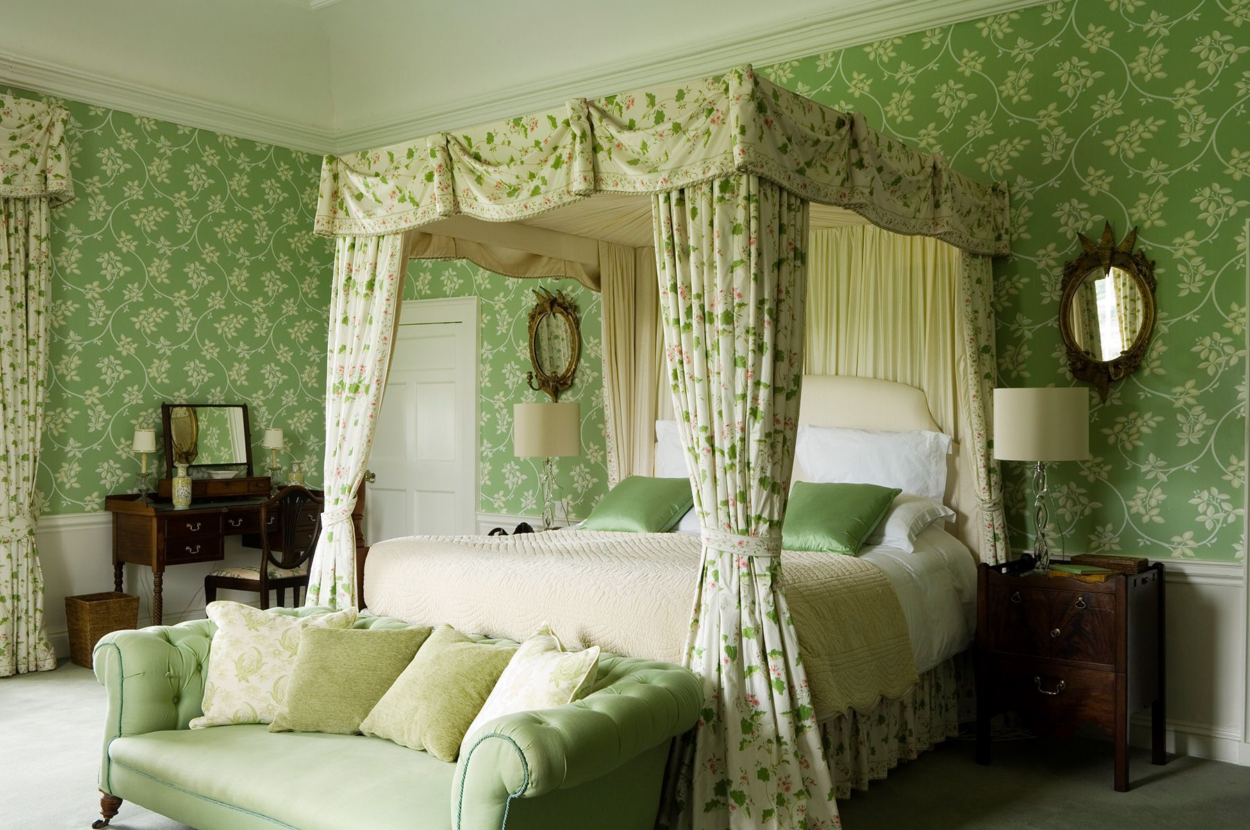 Irish Country Green Bedroom Bedroom Green Traditional Bedroom - Green Designer Bedroom