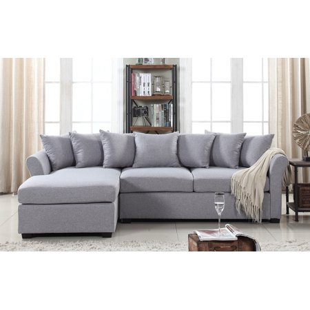 Sectional Sofa With Chaise, Large Linen Fabric Sectional Sofa With Left Facing Chaise Lounge
