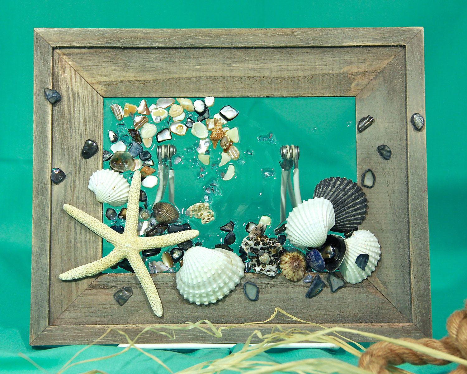 Starfish Wave Wall Hanging Beach Art With Shells Shell