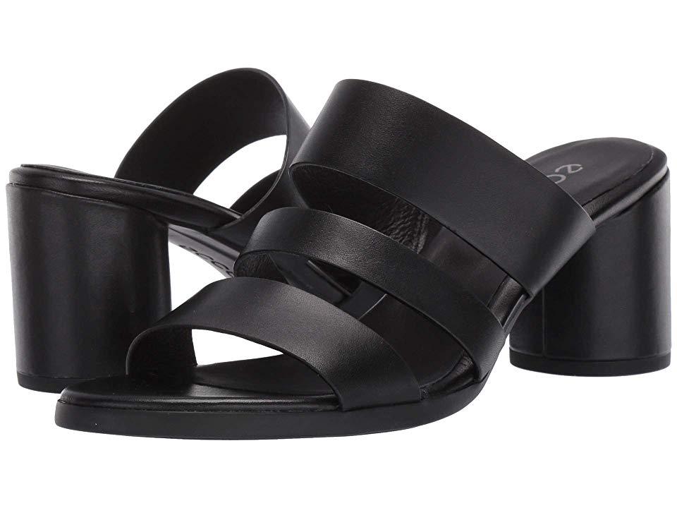 ECCO Shape 65 Block Sandal High Heels Black Cow Leather