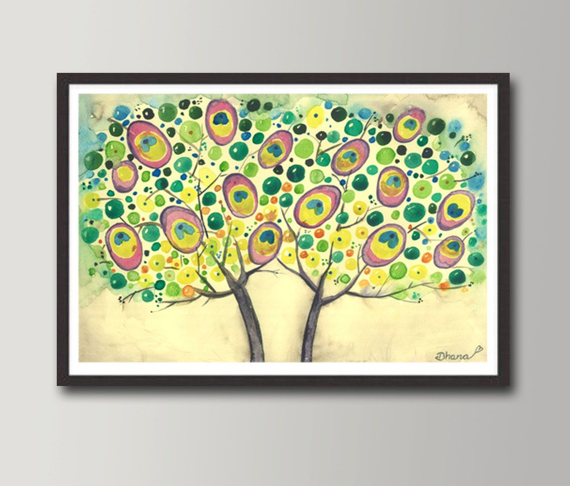 Abstract Painting Peacock Trees - Colorful dots, Large Canvas PRINT ...