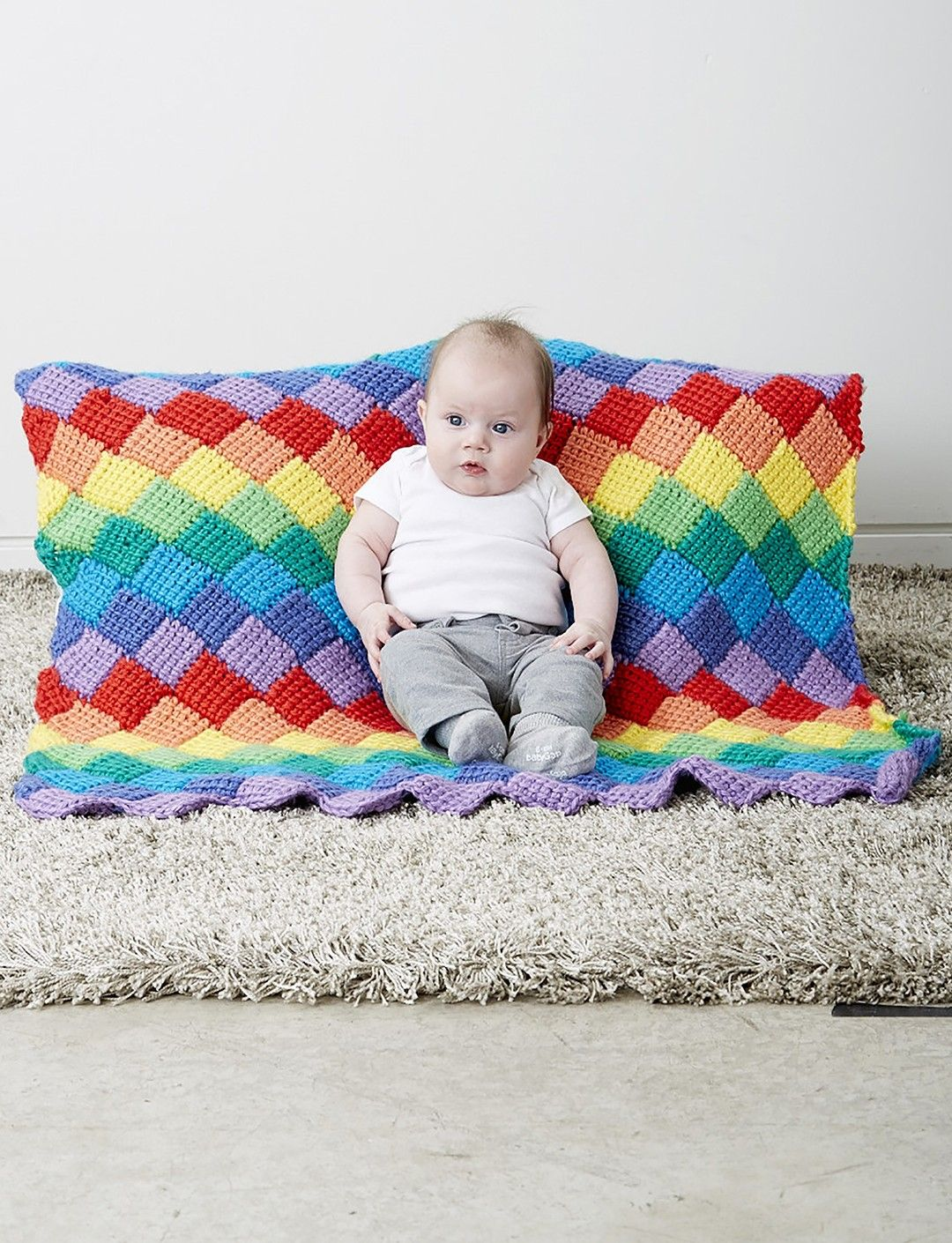 Yarnspirations bernat tunisian entrelac baby blanket test your crochet skills with this amazing rainbow tunisian crochet baby blanket pattern this is probably the coolest rainbow pattern we seen so far bankloansurffo Gallery