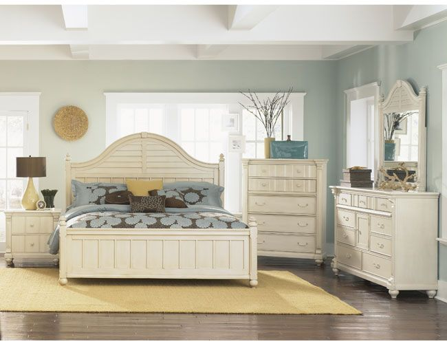 THE FURNITURE :: Cream Color Finished Bedroom Set