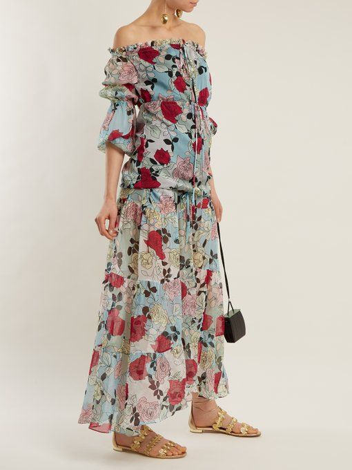 Kim off-the-shoulder floral-print gown Raquel Diniz qr7yMrI