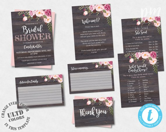 Rustic Fl Printable Bridal Shower Invitation Template Set I