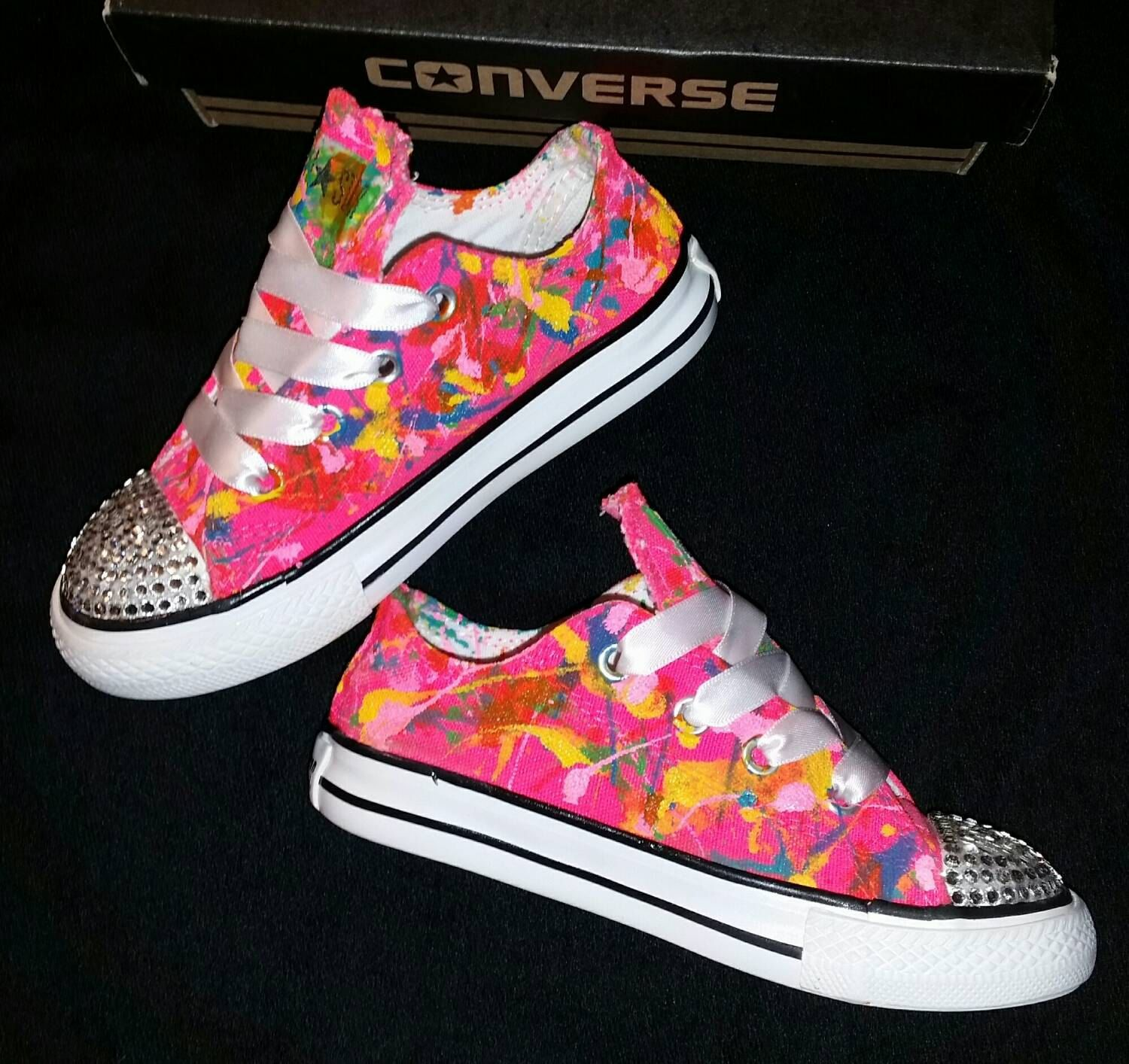 3bf79e12dacb34 Size 8C- Low Top All Star Converse- Hot Pink Splatter Paint Custom Converse-  Crystal Studded Toe- Kids- Toddler- Girls- Ready to Ship by DivineKidz on  Etsy