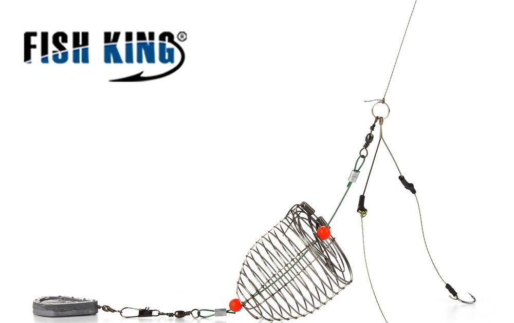 Fish Lure Cage Fishing Bait Cage Feeder Fishing Cage Tackle with Lead Sinker