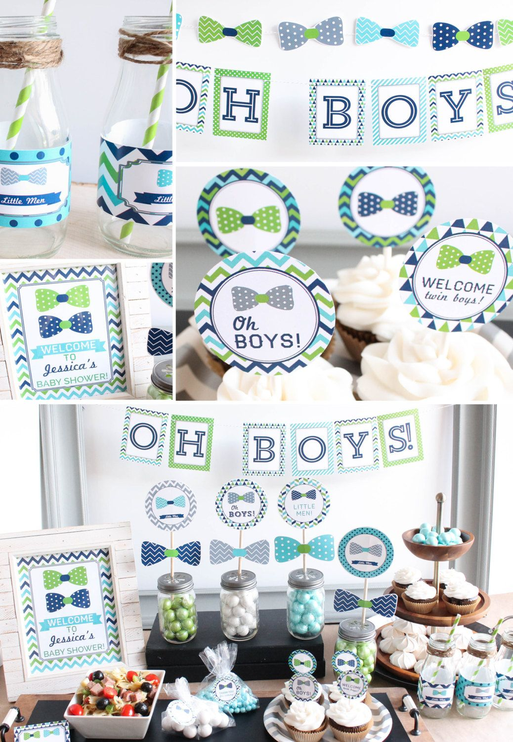 Twin Boys Baby Shower Decorations Bow Tie Lime Green Navy Printable B Baby Shower Decorations For Boys Twin Baby Shower Favor Twin Boy Baby Shower Decorations