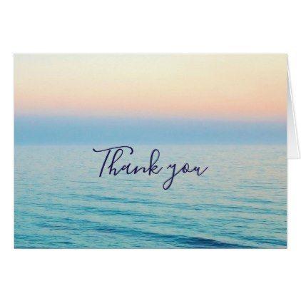 Sunset Skies Ocean Beach Wedding Thank You Card Sky And