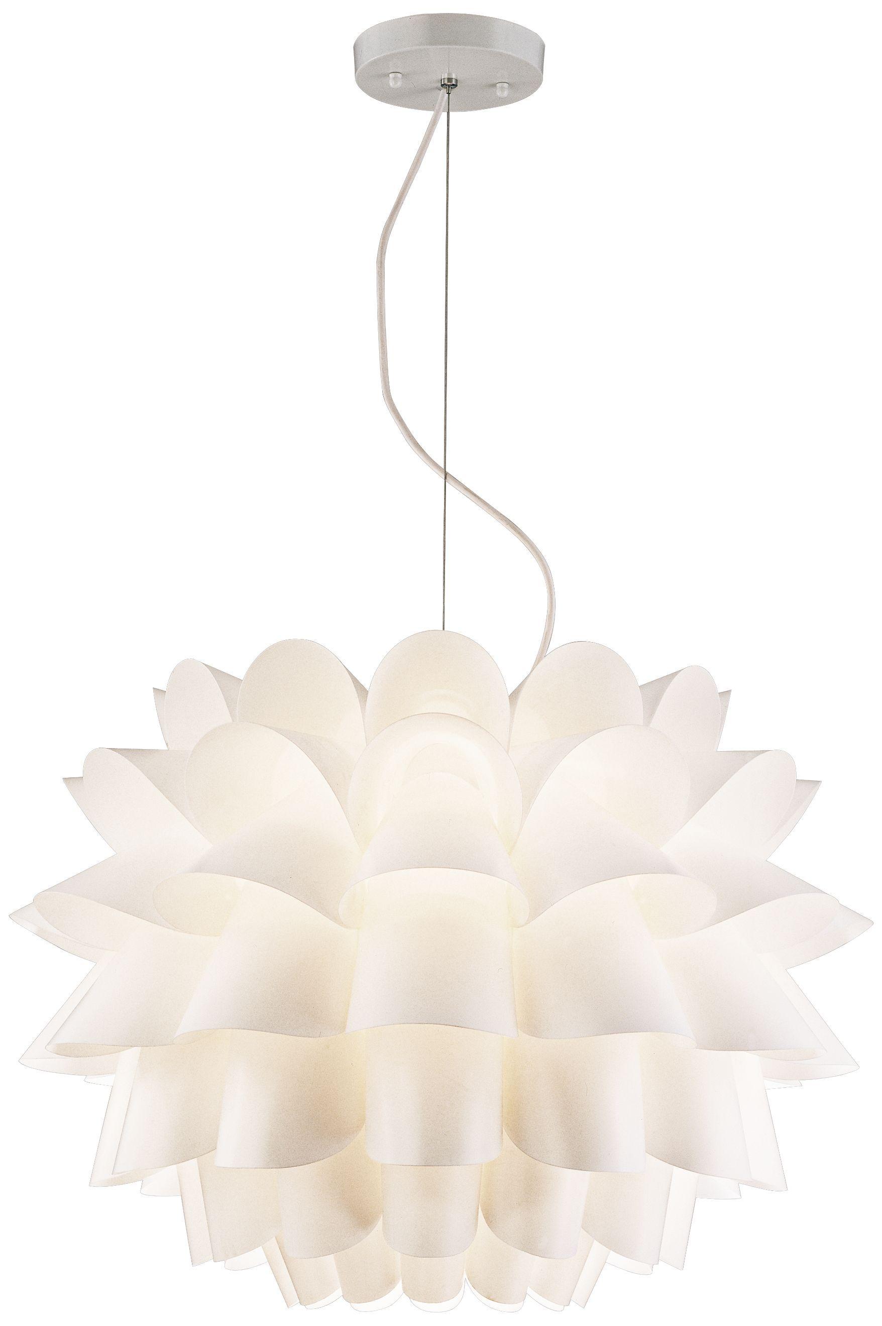 White Flower Possini Euro Design Pendant Chandelier Eu02475