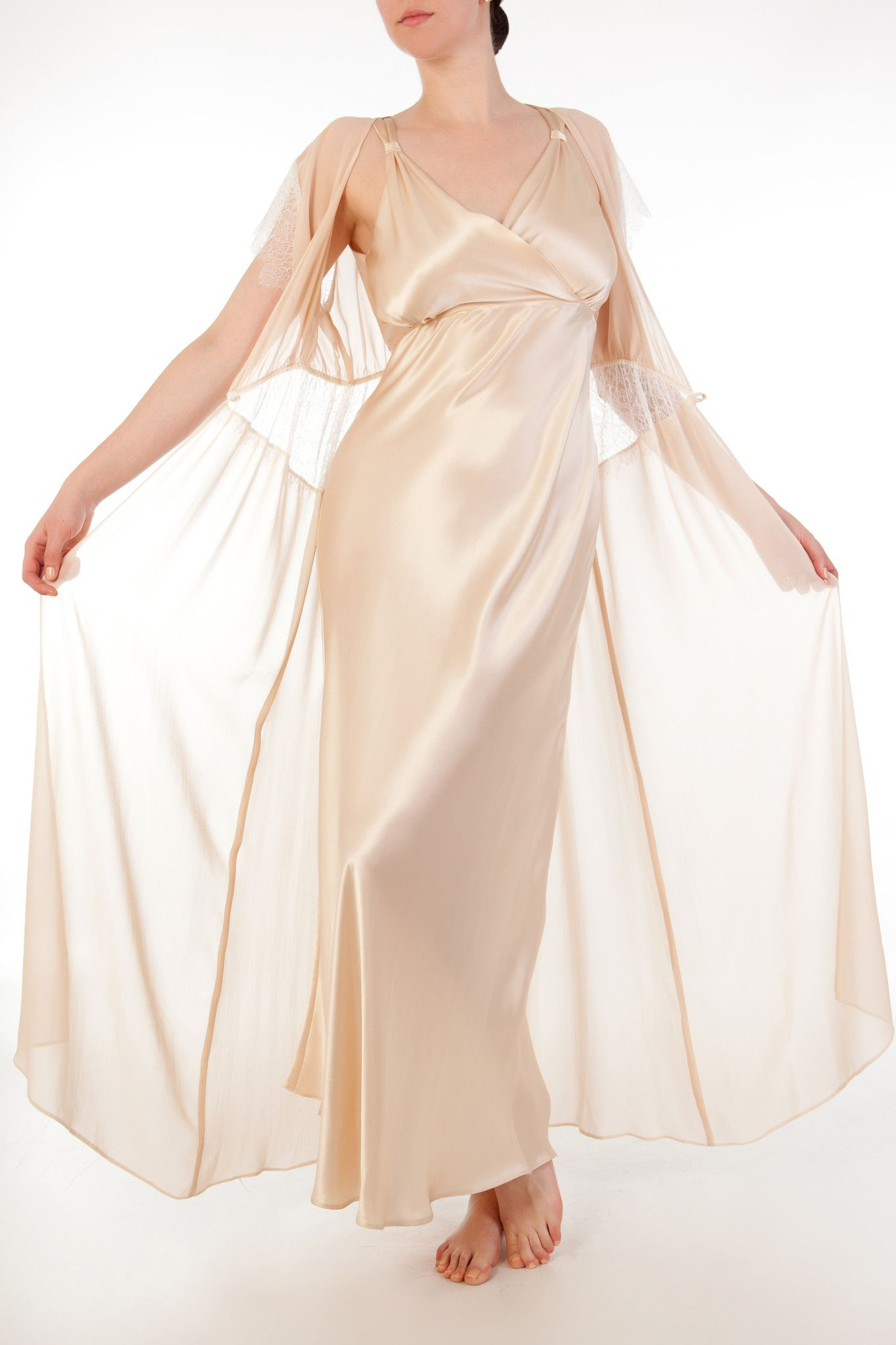 Eleanor Almond Vintage Inspired Full Bust Silk Nightgown with Silk ...