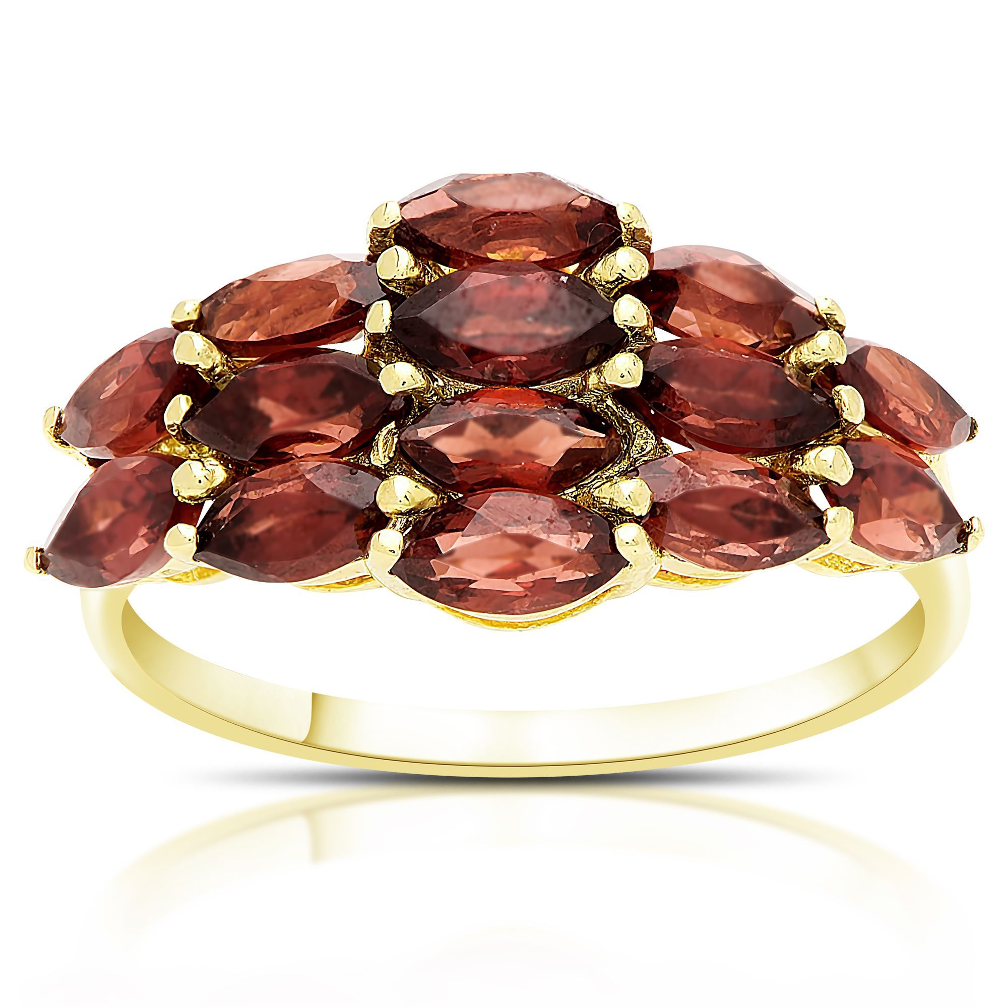 Dolce Giavonna Gold Over Sterling Silver Marquise Garnet Cluster Ring (Size 8), Women's, Red