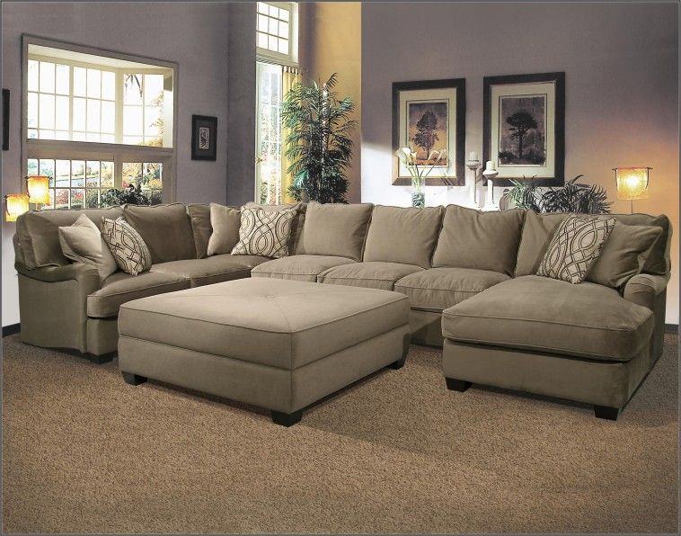 u shaped fabric sectional sofa with large ottoman on super ...
