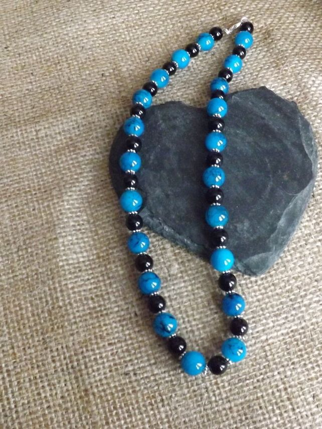 """Blue & Black Glass Beaded Necklace """"NK39"""" £12.50"""