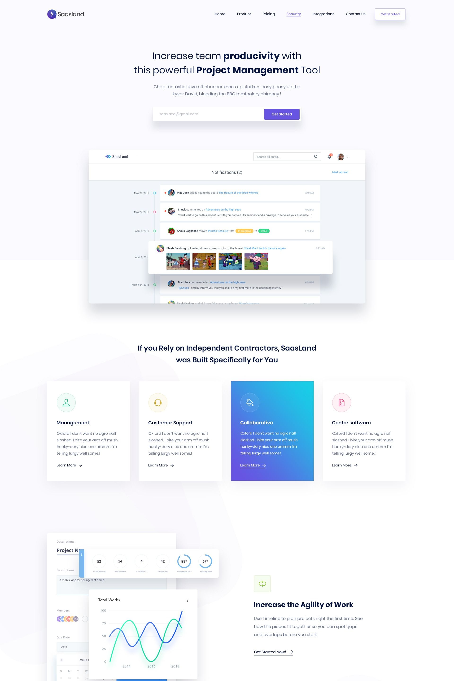 Project Management Landing Page Website Design Wordpress Wordpress Web Design Creative Wordpress Themes