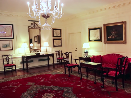 The White House MAP ROOM, located on the Residence's