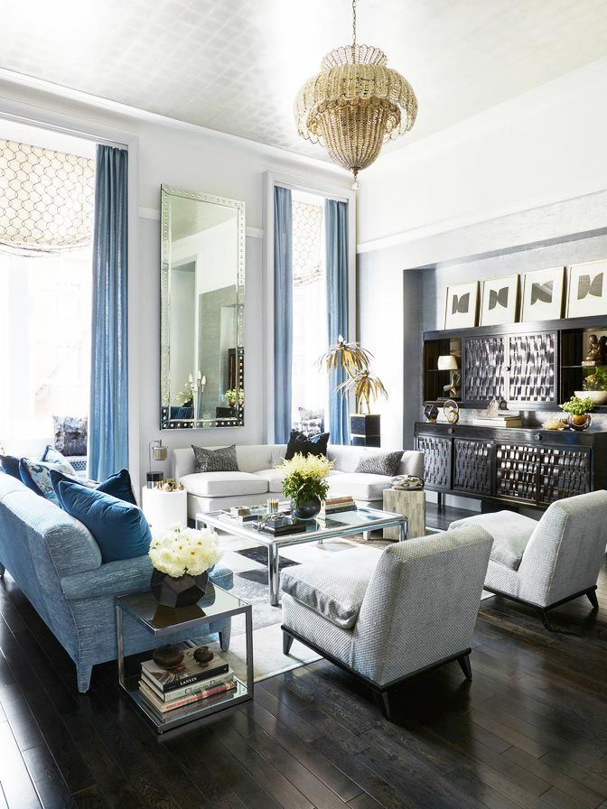 256cc5933442 Silver and blue living room in Carole Radziwill s New York City duplex on  Thou Swell  thouswellblog