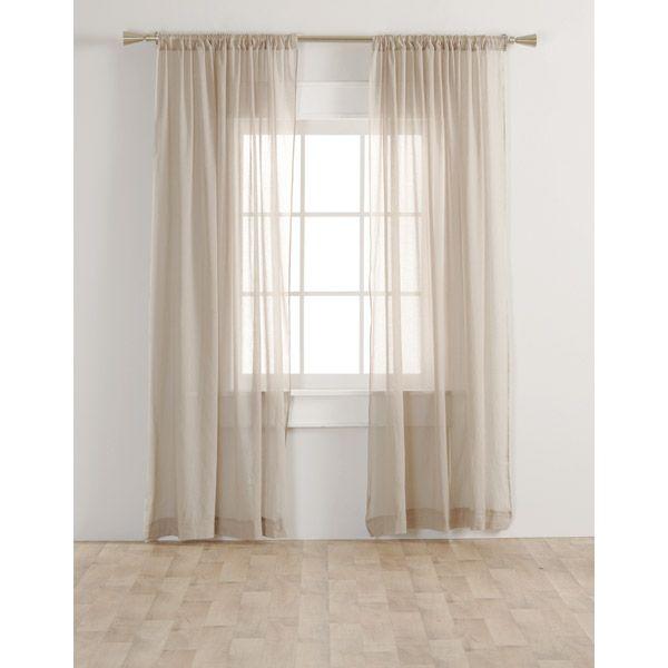 Longueur Des Rideaux ens. de 2 rideaux voilage beige- longueur 84 po - - bouclair maison