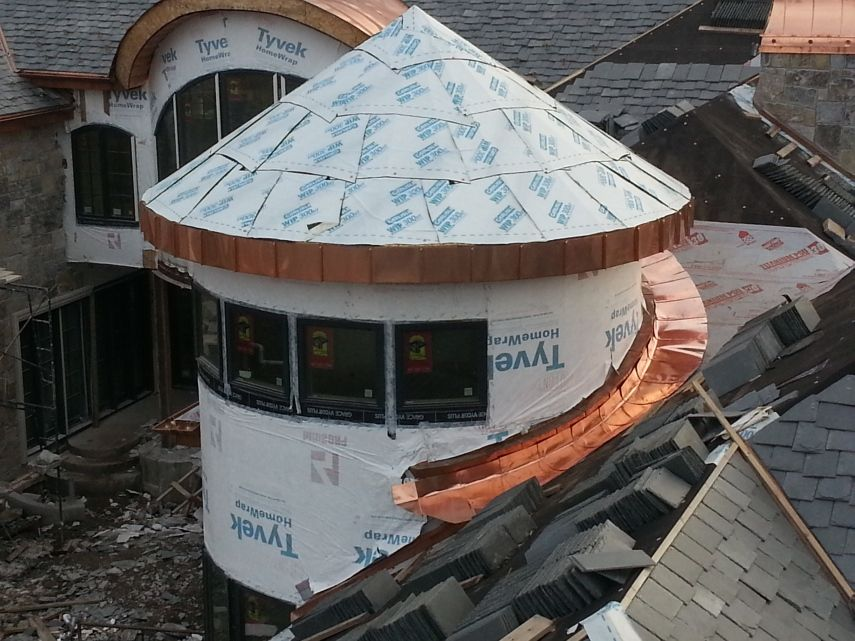 Preparing To Install A Radius Copper European Style Half Round Gutter System To The Turret Note The Seamless Copper Roof Metal Shingles Copper In Architecture