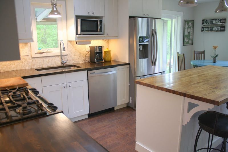 Example Of Ikea Oak Butcher Block Countertops Stained With Ebony Stain And Sealed With Waterlox