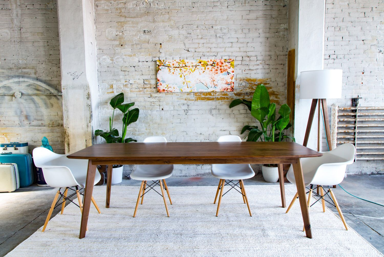 mid century modern walnut dining table small and large wood kitchen table the santa monica. Black Bedroom Furniture Sets. Home Design Ideas