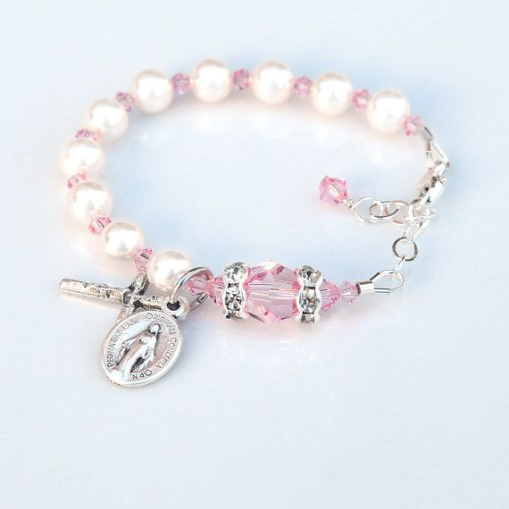 light pin baby rosariesoflove pink by rosary baptism bracelet girl