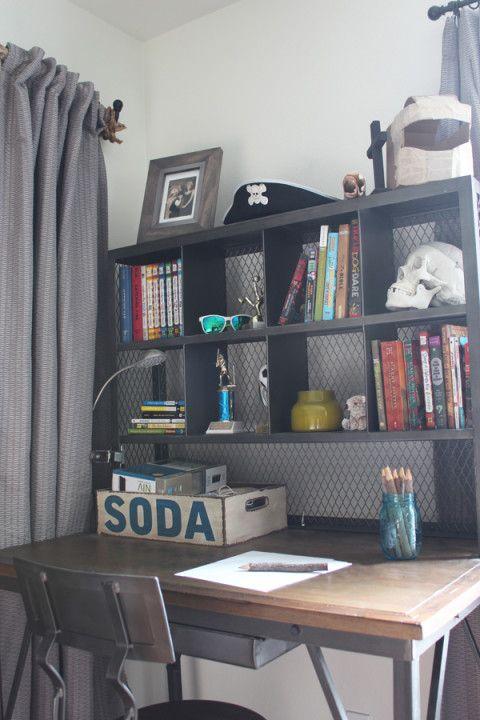teen boy 39 s small bedroom an update children 39 s workspaces boys industrial bedroom teen boy. Black Bedroom Furniture Sets. Home Design Ideas
