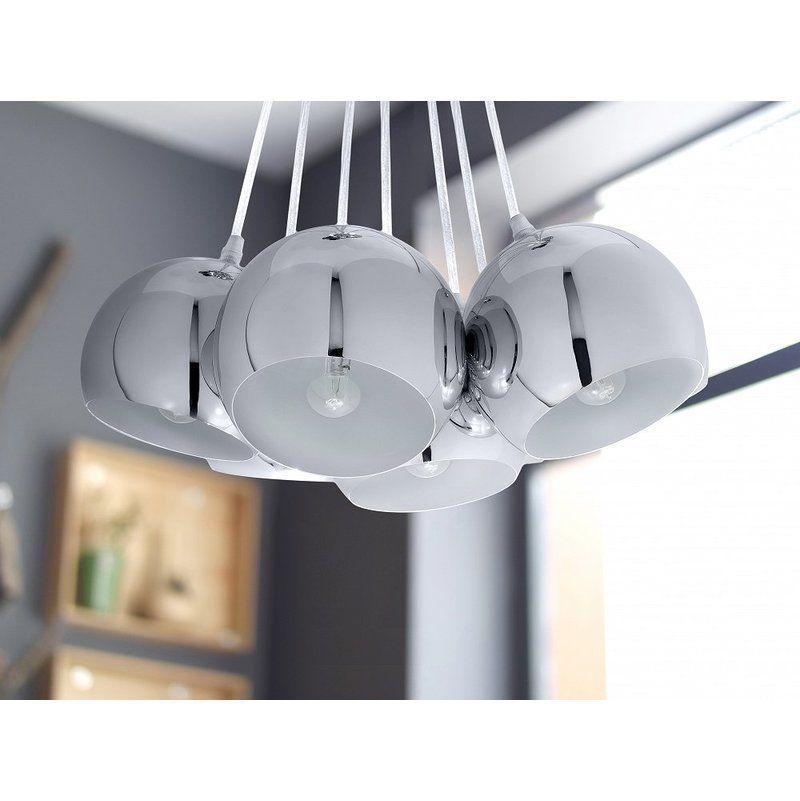 Lampe de plafond suspension plafonnier luminaire argent Olza