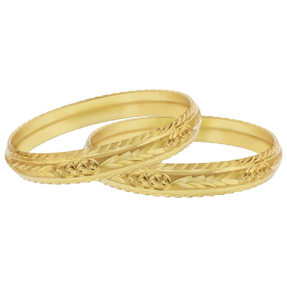 Gold Plated Carved Design Thick Bangles Set of 2.The Inside Diameter Of The Bangles Is 64mm. The Outside Diameter Of The Bangles Is 70mm.11mm wide Bangles.