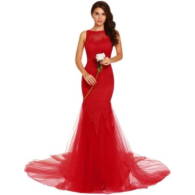 ccd04deab80 Red Backless Solid Lace Mermaid Dress