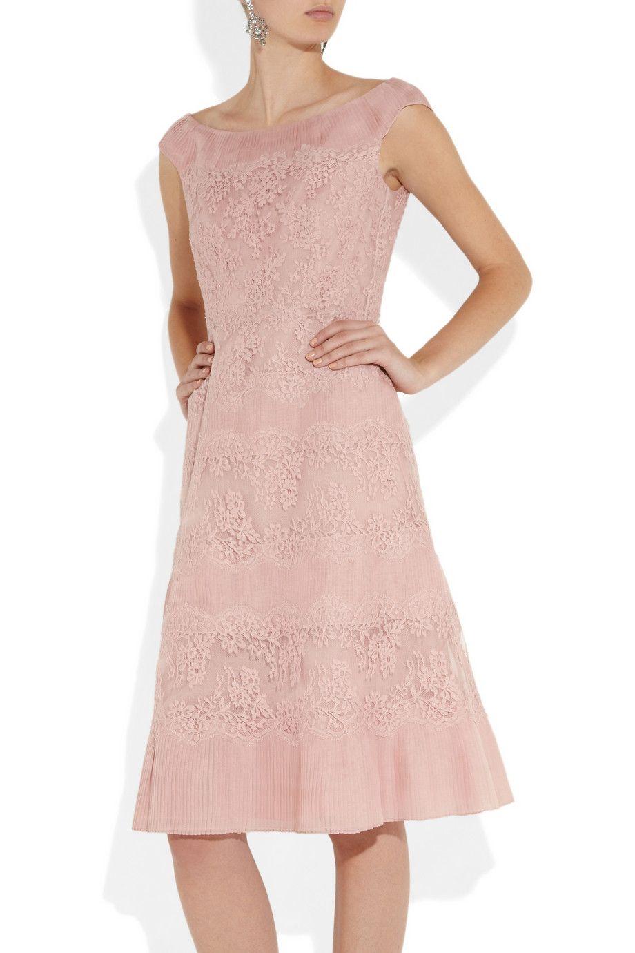 Valentino | Lace and pleated silk-organza dress | | Fashion ...