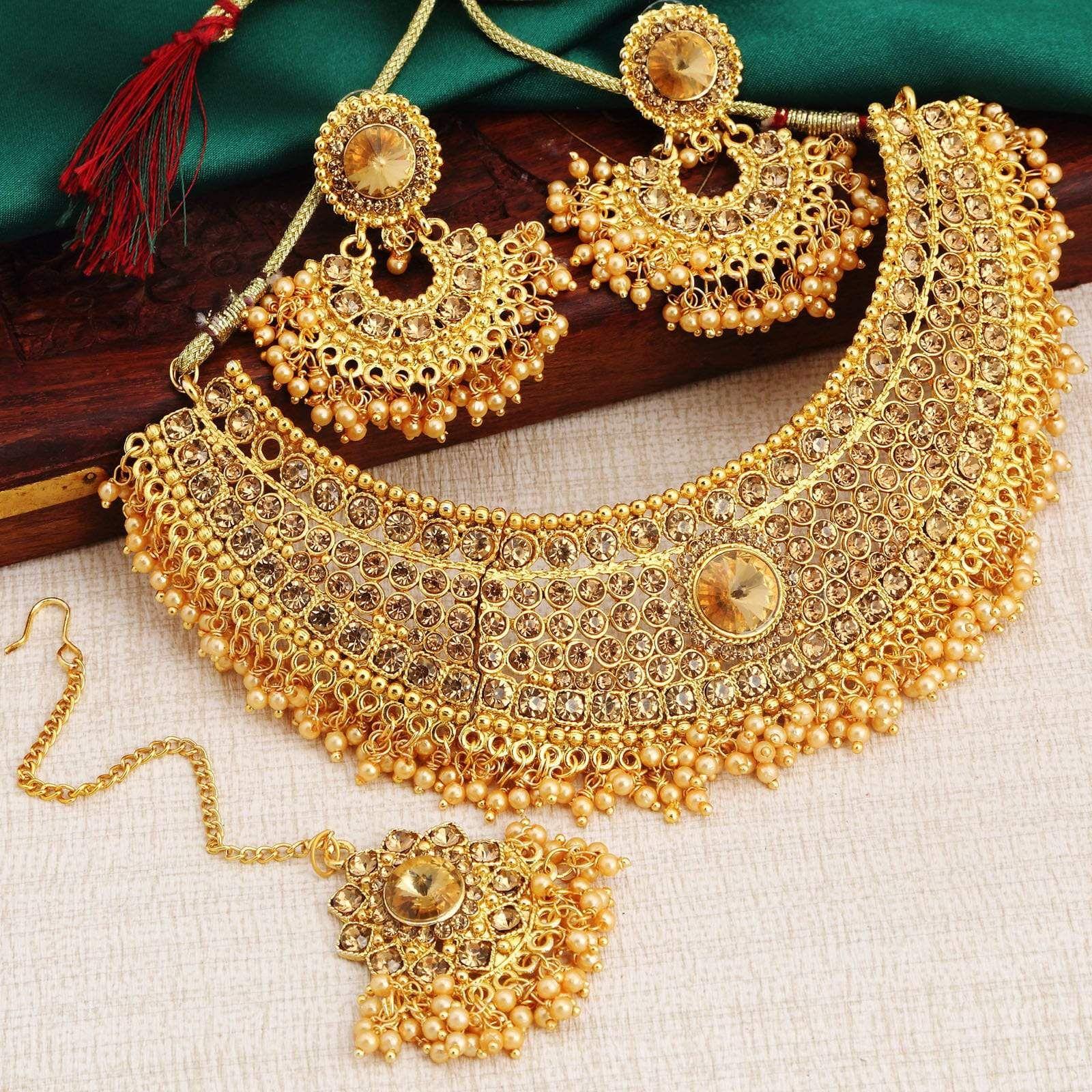 Indian Bollywood Ethnic Golden Kundan Choker Necklace Earrings Tikka Jewelry Set