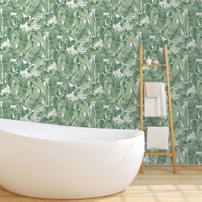 Tempaper Tropical Removable Wallpaper In 2020 Green Leaf Wallpaper Jungle Wallpaper Tropical Wallpaper