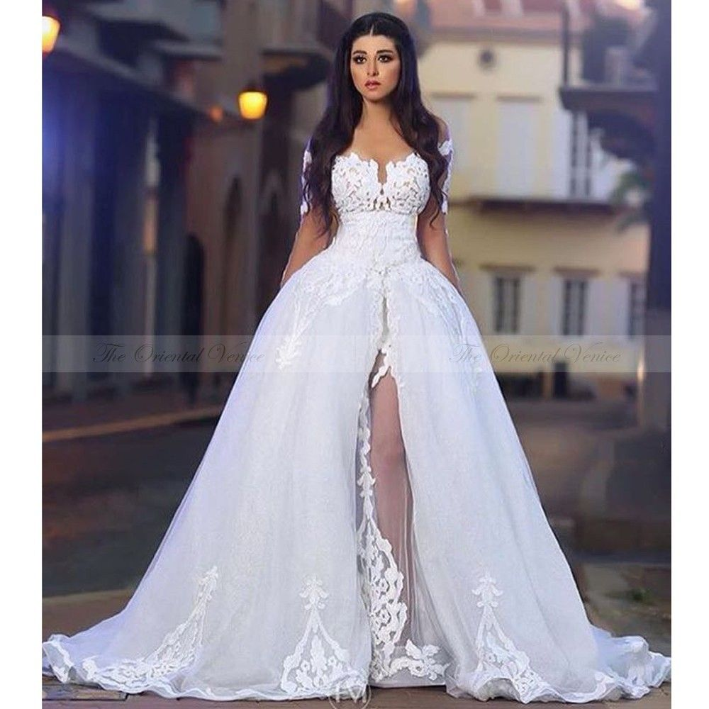 Vestidos De Novia Vintage Lace See Through Mermaid Wedding Dress With Overskirt Off Shoulder Appliqued Dubai