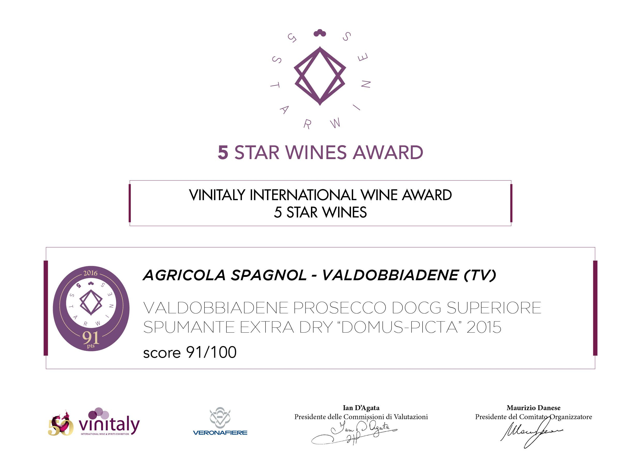 Vinitaly 5 Star Wines Award