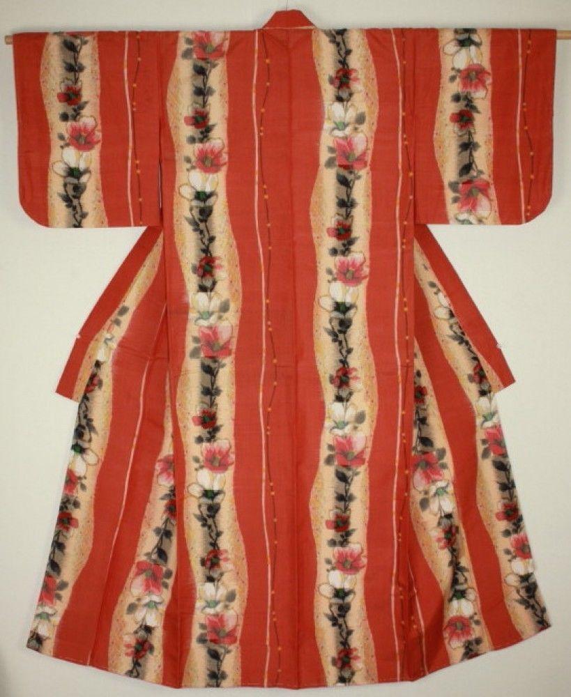 Japanese Vintage Silk Meisen Ikat Kimono Charming Pattern Camellia Orange Back   eBay