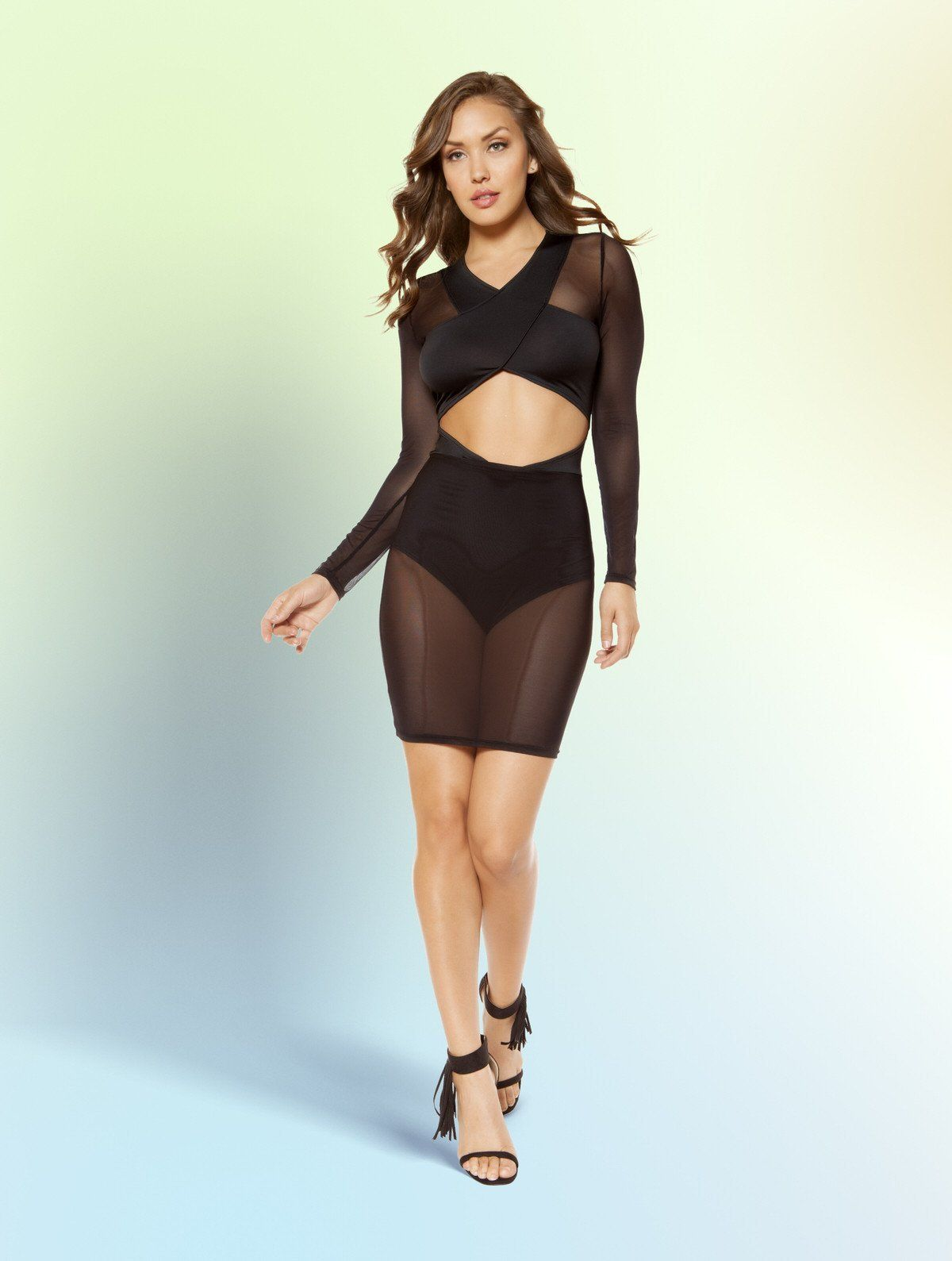 Long sleeved cutout dress with attached underlay high waisted shorts