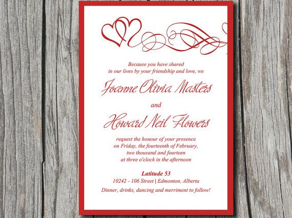 Heart Wedding Invitation Template - Red Wedding Invitation Card - invitation templates for microsoft word